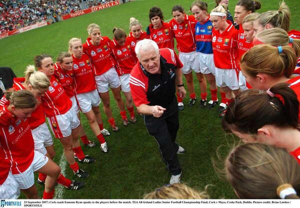 Cork coach Eamonn Ryan speaks to the players before the 2007 final. Picture: Brian Lawless/SPORTSFILE