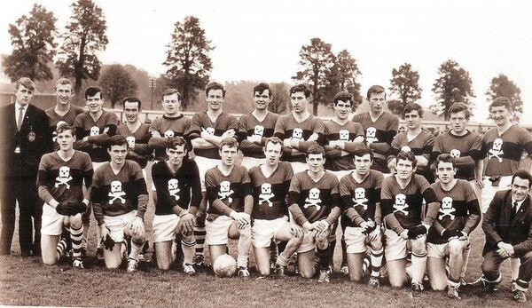Eamonn Ryan, third from right in the front row, before UCC drew with Beara in 1967.