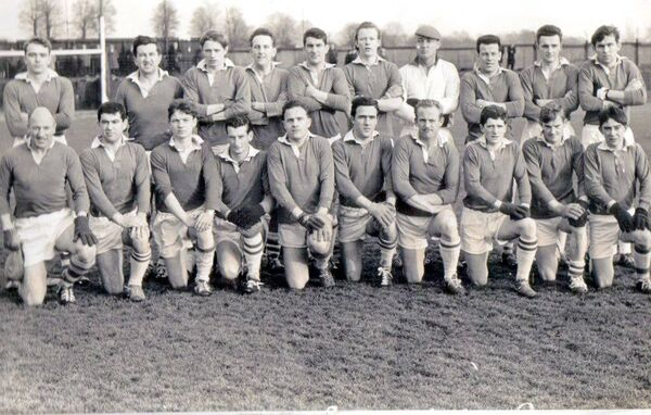 Eamonn Young, extreme left front row, pictured with his Doheny teammates prior to their replayed win over Grange in the county junior football final of 1966.