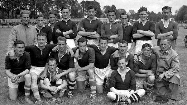 The Cork team who played Carlow in a challenge senior football match at the Cork Athletic Grounds. Included is Eamonn Young, middle row, third from left.