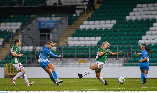 Stephanie Roche fires in a goal against Cork City. Picture: Eóin Noonan/Sportsfile