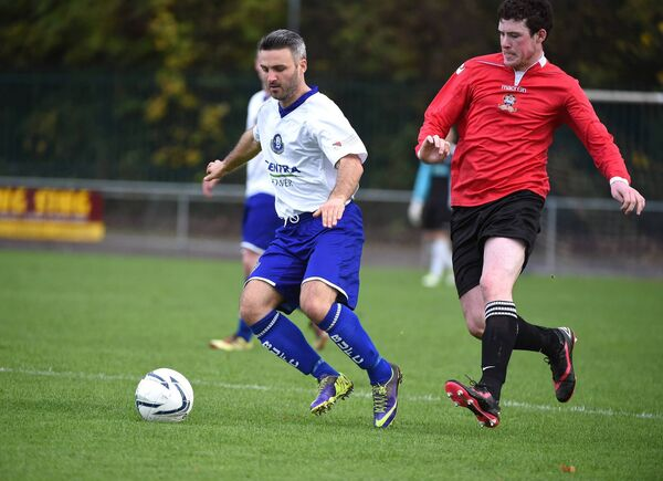Danny Murphy, lining out for Blarney United, against Brendan Cullen, Bandon, in 2014. Picture: Larry Cummins