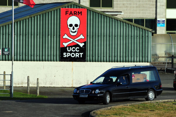 The hearse at the UCC Farm on Saturday. Picture: Eddie O'Hare