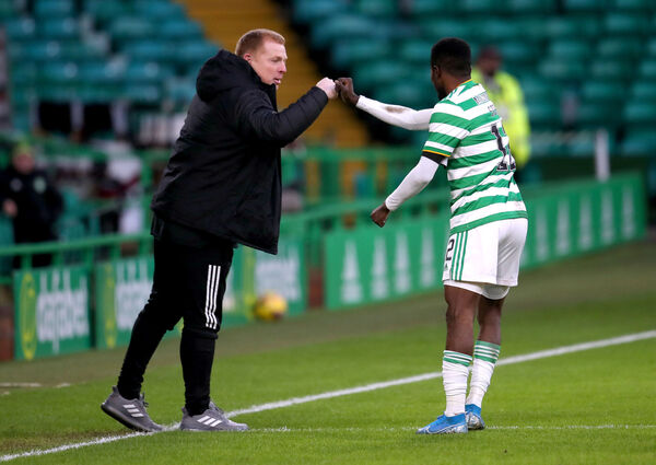 Celtic's Ismaila Soro with Neil Lennon last month. Picture: Andrew Milligan/PA Wire.