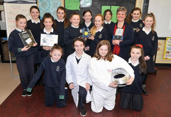 Teacher Sr Margaret Daly back in 2016, with members of the SMB 17 Stem Team from Scoil Mhuire Banrion, Mayfield and their robot Lola, who took part in the VEX IQ challenge. Picture: David Keane.