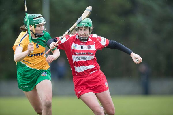 Inagh Kilnamona's Fiona Lafferty and Courcey Rovers' Jacinta Crowley clash last winter in the Munster club semi-final. Picture: Eamon Ward
