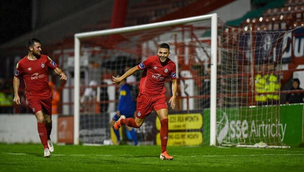 Jaze Kabia after scoring for Shels. Picture: Stephen McCarthy/Sportsfile