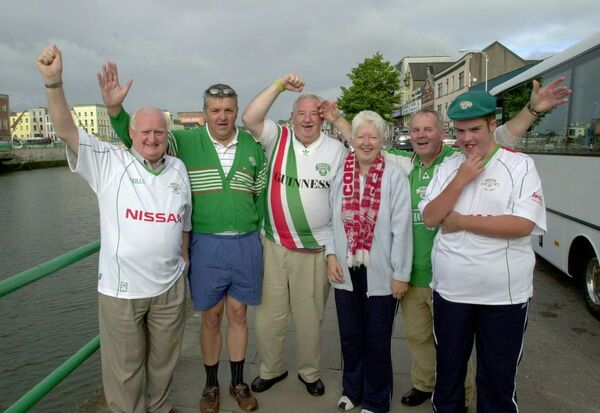 Cork City fans Sean Feeney, Denis Aherne, Liam and Catherine Aherne, Finbarr O'Shea and Brian Aherne setting off for a big match in Derry. Picture: Richard Mills.
