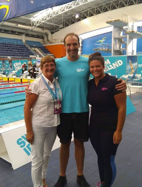 Cork swimming: Mary Haughney with Olympians Andrew Bree and Grainne Murphy.
