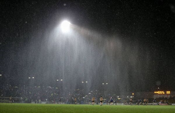 Rain pouring down in Austin Stack Park in Kerry. All clubs, across all sports, should make use of recycling rainwater on their property. 	Picture: INPHO/Cathal Noonan