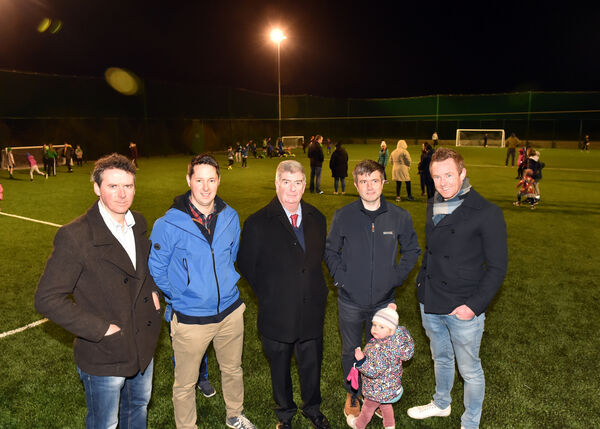 Conor Cavanagh, representing the Cavanagh family, who opened the fully floodlit, astroturf facility in Glanworth in 2019 with Thomas Fitzgibbon, secretary; James O'Keeffe, treasurer; Liam Cotter, Chairman and Mikie Sheehan, all of Glanworth community development group. Picture: Eddie O'Hare