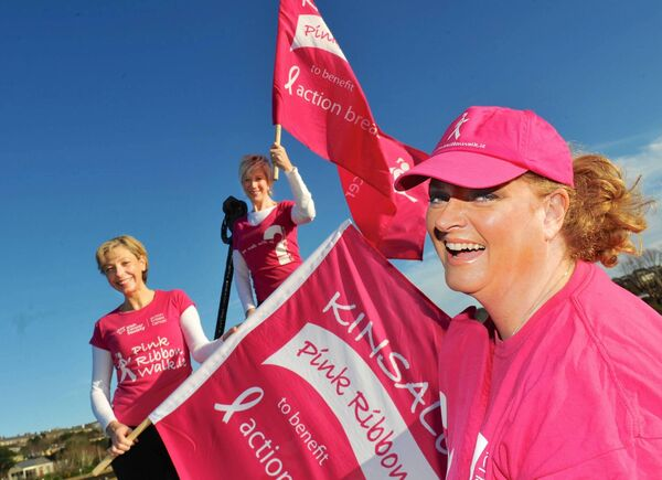 Cara at the launch of the 2013 Kinsale Pink Ribbon Walk with walkers Caoilfhionn McDonnell and Anne Keelan Picture: John Allen.