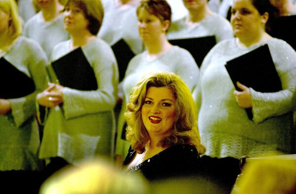 Cork Soprano Cara O'Sullivan with members of the St. Mary's Church Choir, at the concert of Paschal Choral Music in St. Mary's Dominican church, Pope's quay. Picture: Richard Mills.