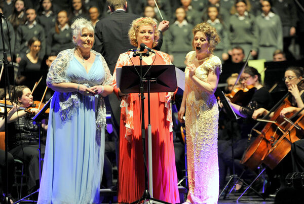 Ref: EE Lisa Coughlan/Socials: Sopranos, Majella Cullagh, Cara O'Sullivan and Mary Hegarty at the Lord Mayors Christmas Concert at the City Hall, Cork. Pic: Gavin Browne.
