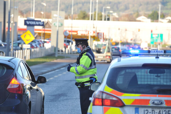 Garda checkpoint near the Bandon Road roundabout, Cork as part of Operation Fanacht, during the Covid-19 Level 5 restrictions.