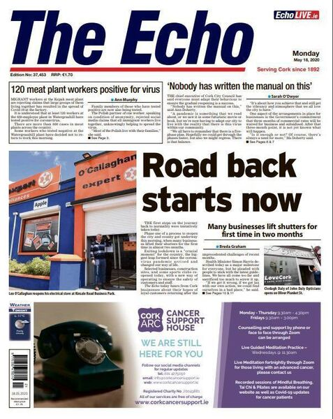 Front page of The Echo on May 18.