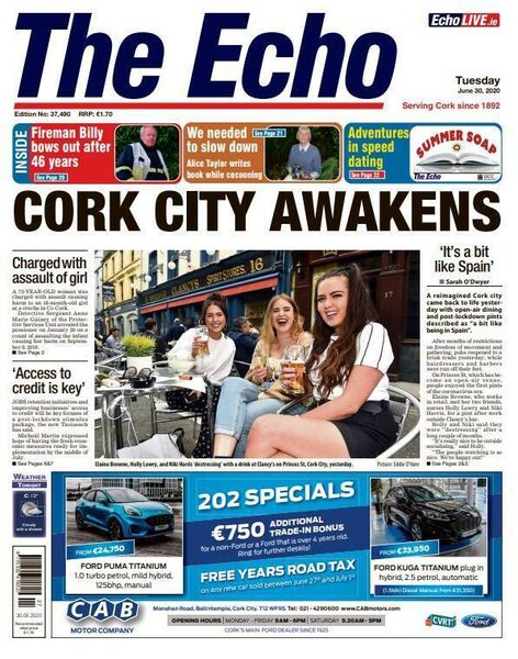 Front page of The Echo on June 30.