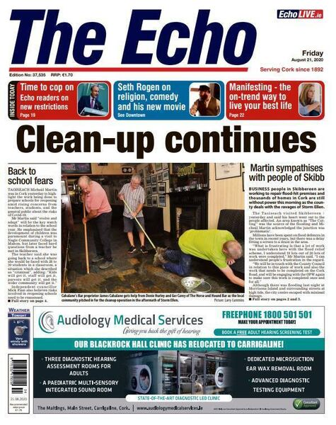 Front page of The Echo on August 21.