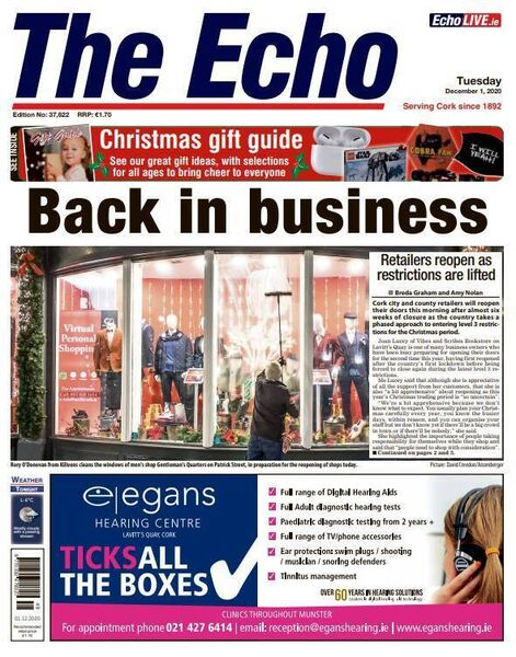 Front page of The Echo on December 1.