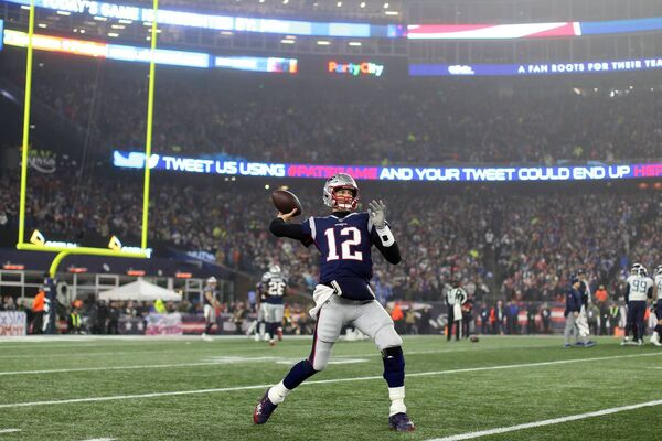 Tom Brady in his last game with New England. Picture: Maddie Meyer/Getty Images