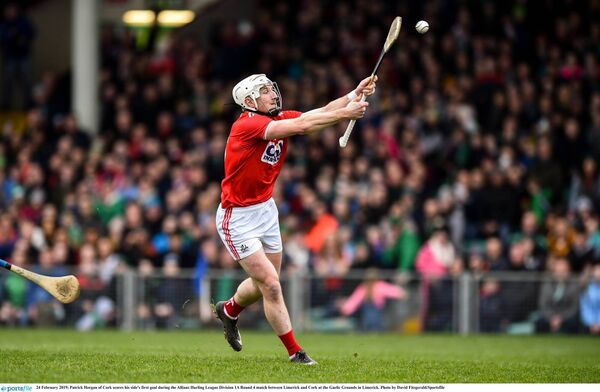 Patrick Horgan of Cork scores his side's first goal in the 2019 league game away to Limerick. Picture: David Fitzgerald/Sportsfile
