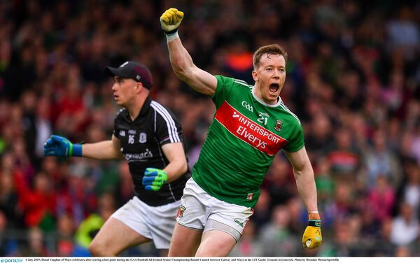 Donal Vaughan of Mayo celebrates after scoring a late point against Galway. Picture: Brendan Moran/Sportsfile