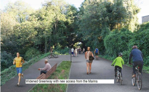 The planned widened greenway along Blackrock and Mahon with the new access from the Marina.