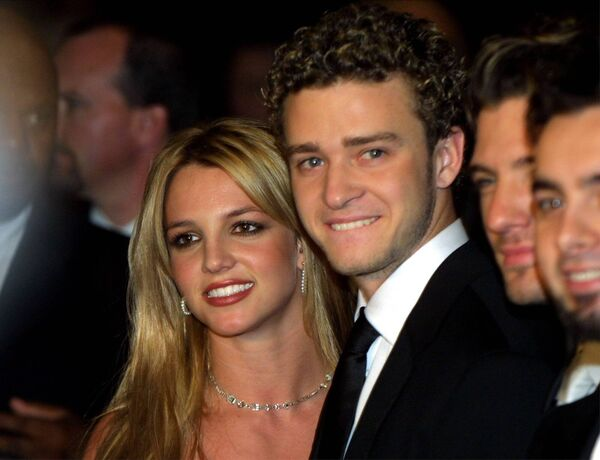Singer Britney Spears and then boyfriend Justin Timberlake in 2002. 	 Picture: Getty