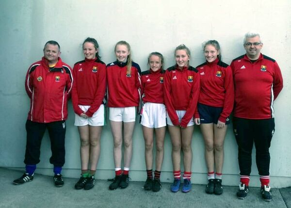 U14 coach and PRO Peter O'Leary, Siofra Patwell, Katie O'Driscoll, Millie Condon, Caoimhe McEvoy, Ciara White (all Clonakilty) and manager Dominic Gallagher.