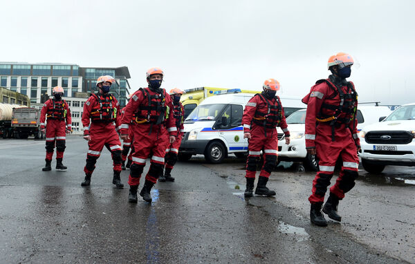 Members of Cork City Civil Defence wearing swift water rescue gear while taking part in the Jerusalema Challenge at Port of Cork. Pic; Larry Cummins.