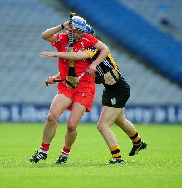 Cork's Rena Buckley is tackled by Kilkenny's Leann Fennelly at Croke Park. Picture: Eddie O'Hare