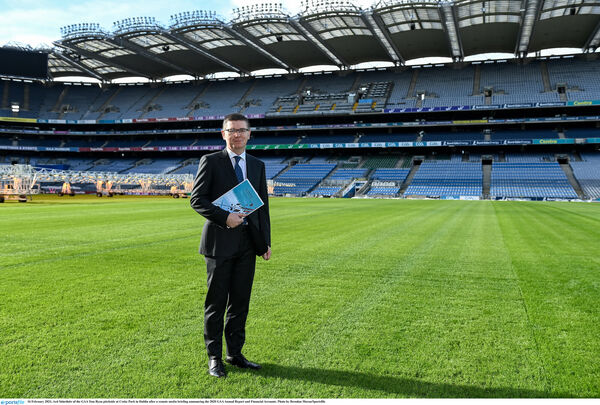 Tom Ryan pitchside at Croke Park in Dublin after a remote media briefing announcing the 2020 GAA Annual Report and Financial Accounts. Picture: Brendan Moran/Sportsfile