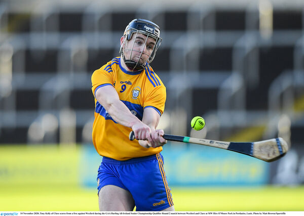Tony Kelly of Clare scores from a free against Wexford. Picture: Matt Browne/Sportsfile