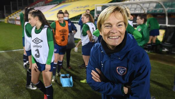 Ireland manager Vera Pauw enjoys some time out from training at Tallaght Stadium. Picture: Stephen McCarthy