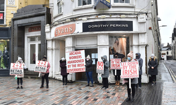 Former Arcadia workers protesting outside Evans shop on Patrick Street, Cork. Picture Dan Linehan