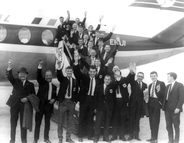 Cork Celtic at Cork Airport prior to departure for the European Cup Winners Cup match versus Slavia Sofia in 1964. Included are: Pat O'Mahony, Donie Leahy, Paul O'Donovan, John Coughlan, Sean Casey, Bill O'Herlihy, Gerry O'Sullivan, Liam O'Flynn, Mick Millington, Al Casey, Frankie McCarthy, Austin Noonan, Dan Spillane, Ray Cowhie, Kevin Blount, Seamus Madden, John Clifford.