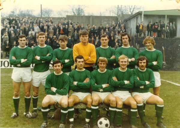 Cork Hibs League of Ireland champions 1971. Back: Terry Young, Noel O'Mahony, Frankie Connolly, Joe O'Grady, Tony Marsden, Carl Davenport, Dave Wigginton. Front: Donie Wallace, John Herrick, Dave Bacuzzi, Sonny Sweeny, John Lawson. Missing from photo is Miah Dennehy scorer of two goals in the decider.
