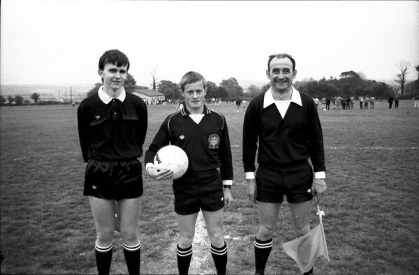 At St Mary's Park before the May 1987 Coca Cola Youths final between Midleton and winners Casement Celtic (left to right): Kevin Cullinane, Eddie Foley (referee) and Richie Browne. Picture: Billy Lyons