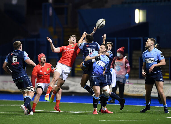 Munster's Shane Daly with Ben Thomas of Cardiff. Picture: INPHO/Ryan Hiscott
