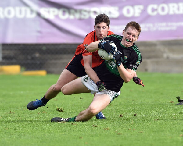Nemo Rangers' Alan O'Donovan wins the ball from Duhallow's Kevin Crowley. Picture: Eddie O'Hare