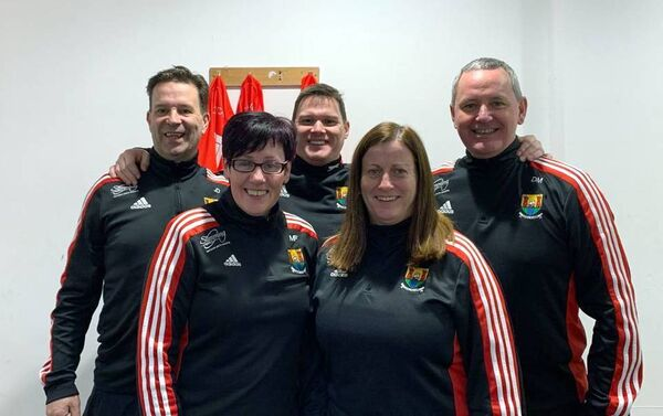 The 2020 Cork U16 LGFA management team comprising of Denis Mulvihill (Valley Rovers), John Duffy (Fermoy), Miriam Forbes (Dohenys), Brian McCarthy (Clann na nGael) and Orla Hallihan (Bride Rovers).