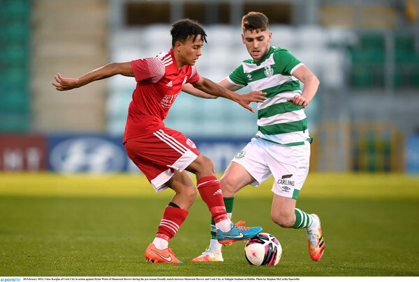 Uniss Kargbo of Cork City in action against Dylan Watts of Shamrock Rovers. Picture: Stephen McCarthy/Sportsfile