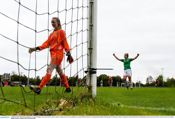 Bohs keeper Courtney Maguire turns away as Saoirse Noonan of Cork City celebrates. Picture: Stephen McCarthy/Sportsfile