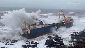 Watch: Incredible drone footage shows ghost ship battered by powerful waves