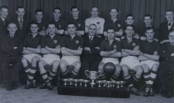Cork Harbour Commissioners, the first Cork Business League winners in 1952-'53. Back: P Murphy, J Egan, M Flanagan, T Power, D Lyons, J O'Driscoll, D O'Sullivan, J Hourihan, M O'Leary, W Ryan. Front: M Fitzgerald, D Murray, T Murphy, J Hurley, E Gayer (president), JJ McCullagh (c), Michael Warner, G Slocum, JB Donoghue. Picture: Finbarr Buckley