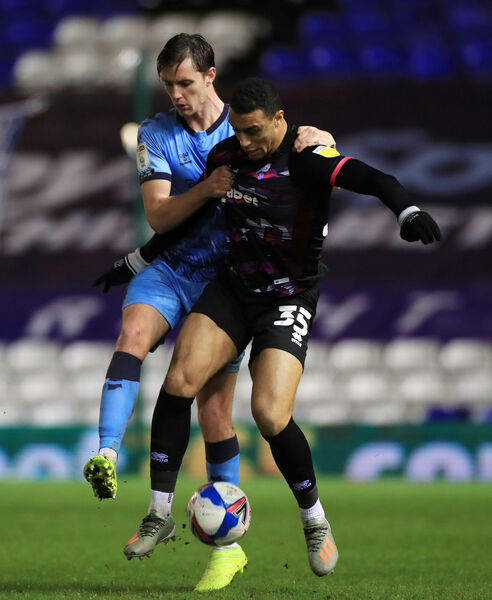 Coventry's Dominic Hyam and Norwich's Adam Idah battle for the ball. Picture: Mike Egerton/PA Wire.