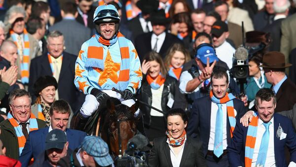 Ruby Walsh celebrates victory on Un De Sceaux in the Racing Post Arkle Challenge Trophy Steeplechase at Cheltenham in 2015. Picture: Michael Steele/Getty Images
