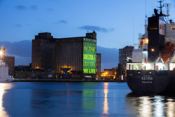 To celebrate Meitheal, the theme of the Cork St Patrick's Festival, a stunning display of words in Irish and in English is being projected on the walls of the R&H Hall Building. Pic Darragh