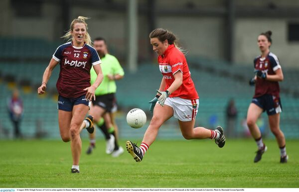 Orlagh Farmer of Cork in action against Jo-Hanna Maher of Westmeath. Picture: Diarmuid Greene/Sportsfile