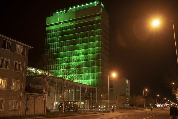 County Hall, Cork one of the many landmarks and public buildings Cork County Council has illuminated in green to mark St. Patricks Day 2021. Pic: Brian Lougheed